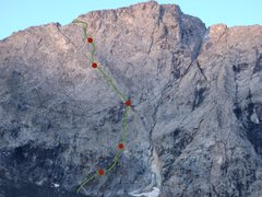 Rock Climbing Photo: Wrong Peak with pitches marked.