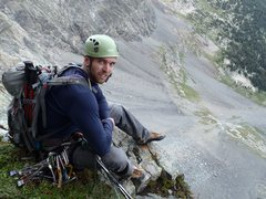 Rock Climbing Photo: David Stillman at the grassy ledge; the end of the...