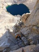 Rock Climbing Photo: Johnny K stemming the upper part of P9.