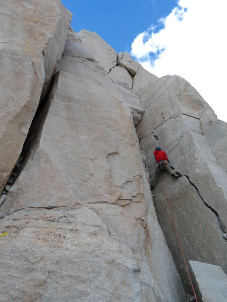 Rock Climbing Photo: Richard Shore leading the stellar P11. Photo by Jo...