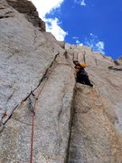 Rock Climbing Photo: Johnny K leading a 5.10+ thin fingers variation on...