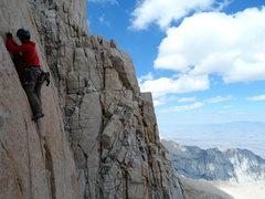 Rock Climbing Photo: Richard Shore leading the crux P9. Photo by Johnny...