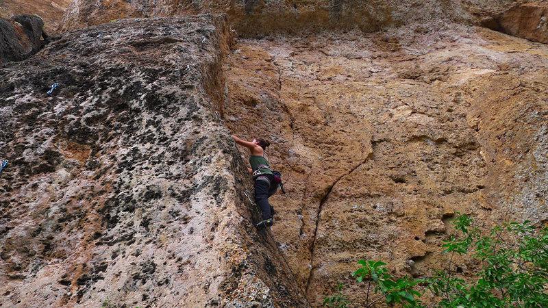 Rock Climbing Photo: Climber on Anarchy and an AK-47.