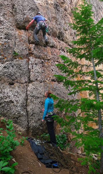 Climber on Snake Flake.