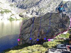 Rock Climbing Photo: 1 - Rising Waters (V3) 2 - V0 3 - Pika Wall (V1) 4...