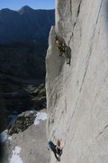 Rock Climbing Photo: Climbers on the crux of Positive Vibrations, 5.11a...