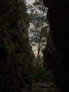 Rock Climbing Photo: dropping down into the upper section of the approa...