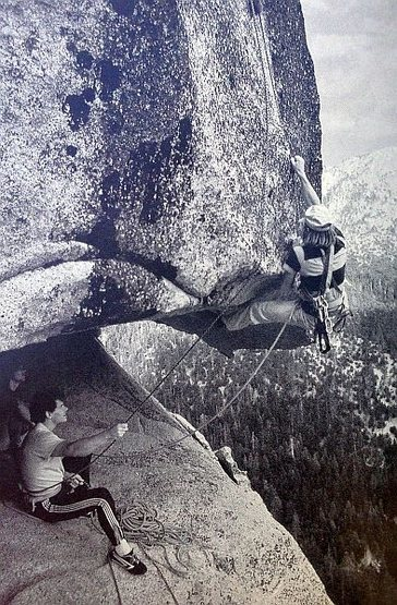 Kevin Powell on an early attemp of <em>Hit it Ethel</em> (5.12b R), Suicide Rock <br> <br> Photo: Kevin Powell Collection