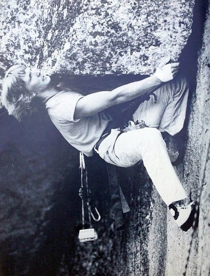 Frank Vernoy on <em>The Bridge of Khazad-Dûm</em> (5.11d), Cathedral Ledge<br> <br> Photo by Ed Webster