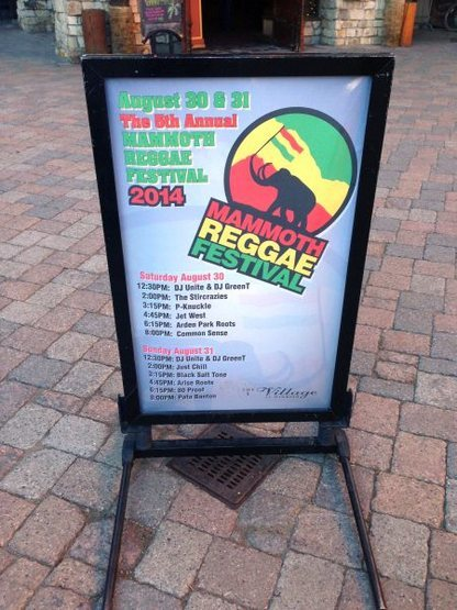 Mammoth Reggae Festival sign, Mammoth Lakes