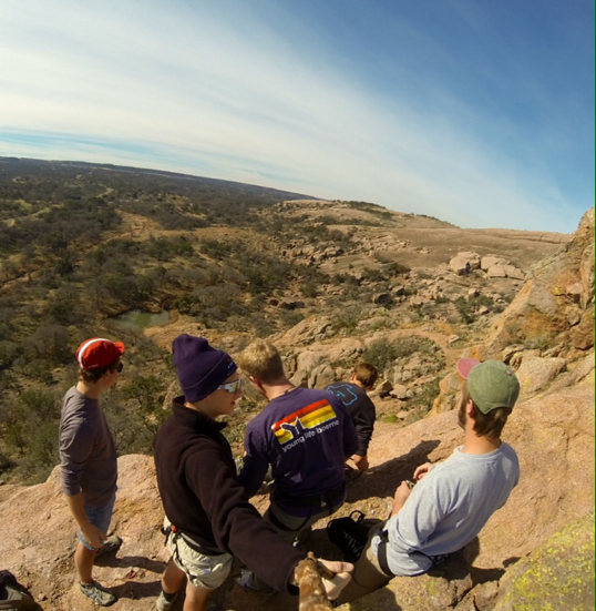 The crew on top of Turkey peak at enchanted Rock.