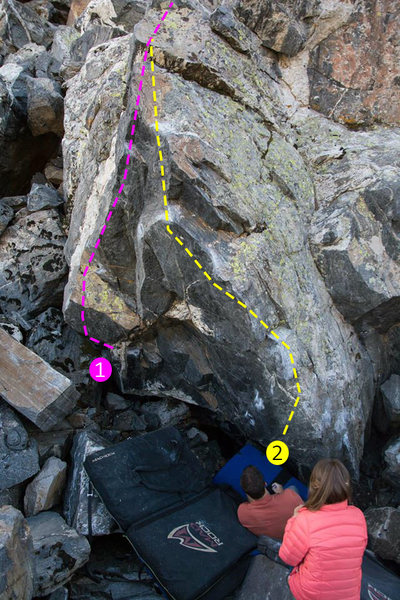 Rock Climbing Photo: 1 - Black Poweraid (V3/4) 2 - Black Ness Monster (...