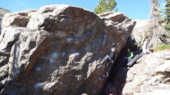 Rock Climbing Photo: Going towards the big rib feature.