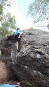 Rock Climbing Photo: Topping out the V2 on the west side of Boulder D.