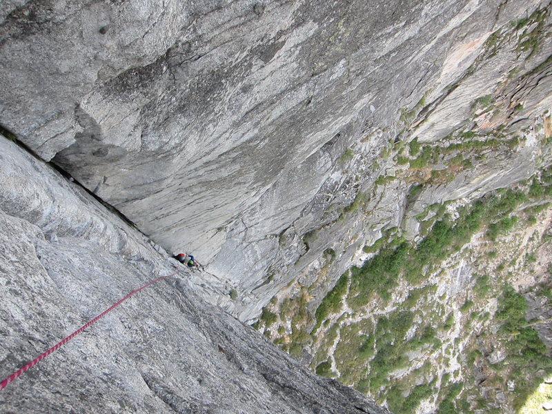 Rock Climbing Photo: Looking down the super fun 2nd pitch