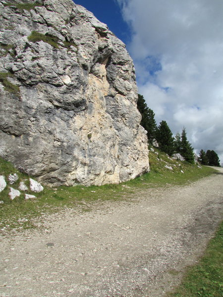 A major rock by the roadside/trailside, literally studded with bolts fro what I determined to be at least 3 or 4 routes .