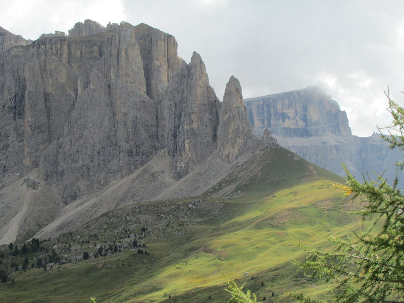 """Sella Towers from Steinerne Stadt. The """"Locomotiv"""" formation stands out well at base of 1st Sella Tower."""