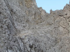 Rock Climbing Photo: The large scree covered ledge comprises pitch 2, w...