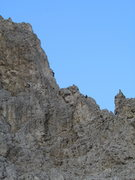 Rock Climbing Photo: Climbers silhouetted on the steepening arête.