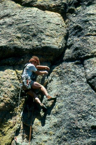 """Pete Delannoy on the first ascent of  """"Crack of Earthly Delights""""  ***** 5.9 in the Needles of SD."""