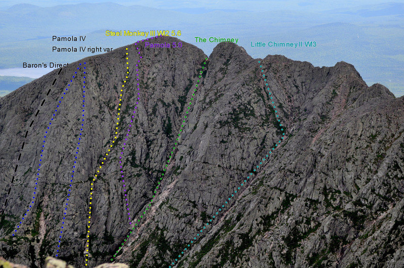 The route from Katahdin summit.  I drew in where I think Pamola IV and IVrv are in blue?