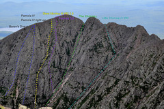 Rock Climbing Photo: The route from Katahdin summit.  I drew in where I...