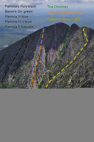 another view of Pamola.  Blue = Pamola IV and right variation, and the Green route would be Baron's Direct?