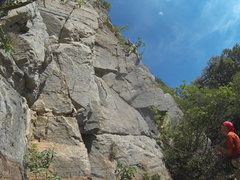 Rock Climbing Photo: Clipping the third bolt