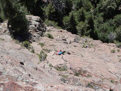 Rock Climbing Photo: Lauren cleaning p2. We belayed from the skinny Lim...