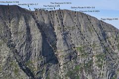 Rock Climbing Photo: Armadillo, Flatiron, Black Gullies, Diamond, Cathe...