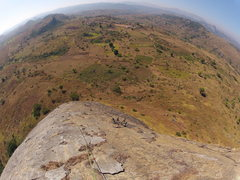Rock Climbing Photo: Looking down the 2nd pitch at climber leaving 1st ...