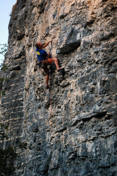 Rock Climbing Photo: Cody Starting the crux. Spoiler alert! (cross over...