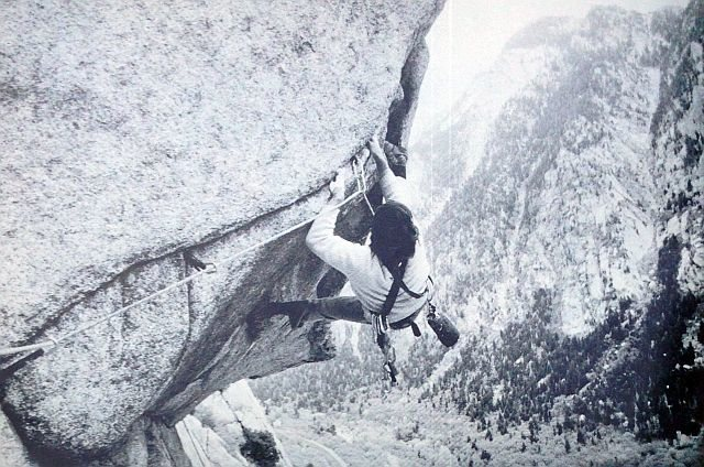 Ed Webster attempting the Coffin Roof (5.12a), Little Cottonwood Canyon<br> <br> Photo by Jay Wilson