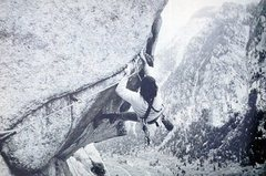 Rock Climbing Photo: Ed Webster attempting the Coffin Roof (5.12a), Lit...