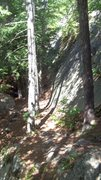 Rock Climbing Photo: Rough picture shows nice spacious base with shade....