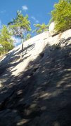 Rock Climbing Photo: Rough pic of the left side of the cliff, short onl...