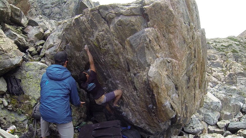 Rock Climbing Photo: Me on the FA of Captain Keating. My left hand is o...