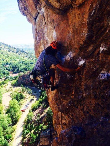 Adam Pecan starting the traverse.
