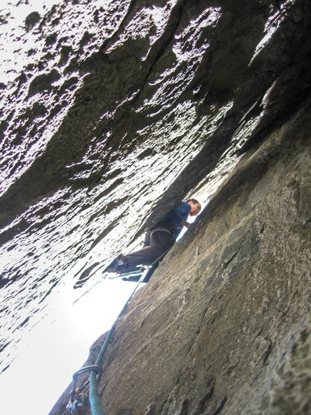 Crux pitch, which was 3rd pitch for us, since we couldn't quite reach this belay from the ground with a 60m rope.