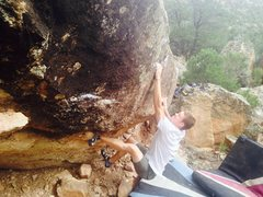 Rock Climbing Photo: Sean getting the power move up to the positive rai...
