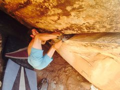 Rock Climbing Photo: Ryan working the second half of the roof crack por...