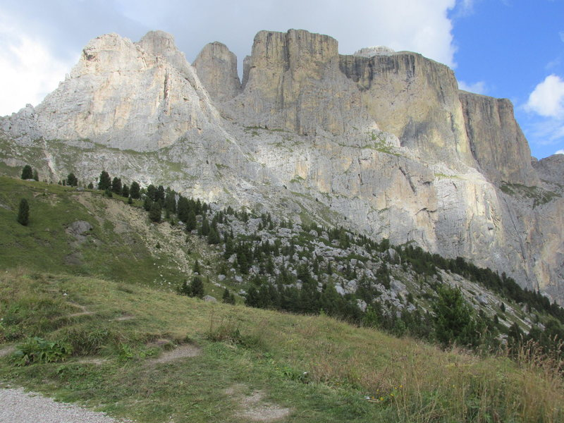 A somewhat non-standard view of the Sella Towers from the Canazei side of the Sella Pass.