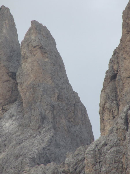 """The right skyline delineates the upper portion of the Thumb Route, known to Germanic climbers as the """"Daumenkante."""" (Thumb arête)"""