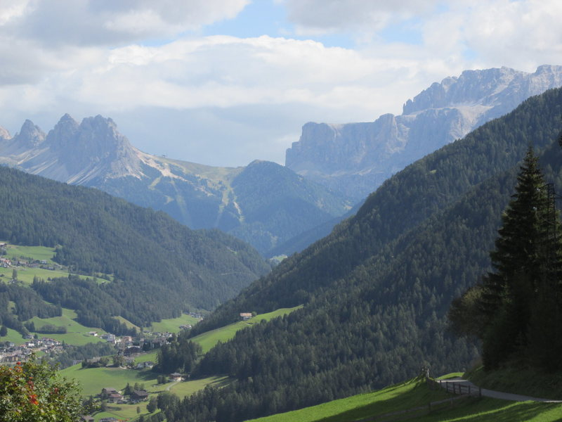 The Puez and Sella Groups from the vicinity of Schlern. The huge Sella Massif is on the right.