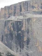 Rock Climbing Photo: Black streaked area on Piz Pordoi is just left of ...