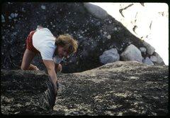 Rock Climbing Photo: Elliott Robinson bouldering the Olmsted Crack (V1)