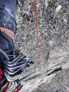 Rock Climbing Photo: Upper half of P5.  Cool thin crack on this section...