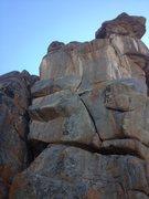 Rock Climbing Photo: Falcon Dinner, 5.10. Follow the cracks left, then ...