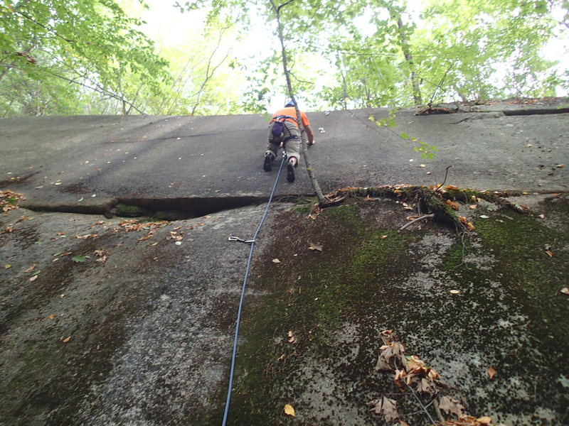 One of two bolted routes on Almost Perfect Slab. The other is about 20 ft to the left and more sparsely protected.