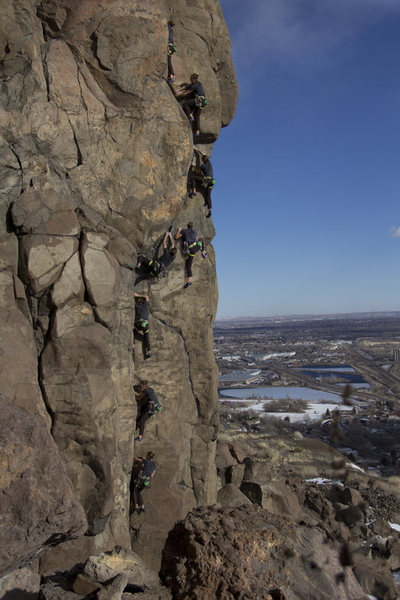 A sequence photo from Keith North.<br> <br> Climbing: Matt Lloyd.